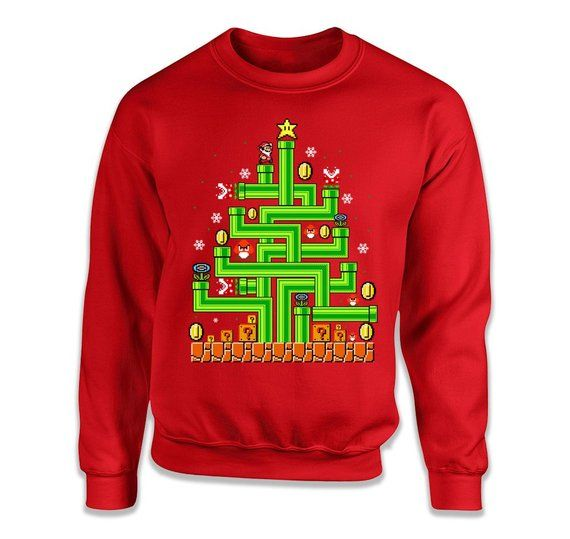 Mario Tree Video Game Ugly Christmas Sweater Gamer Shirt Party
