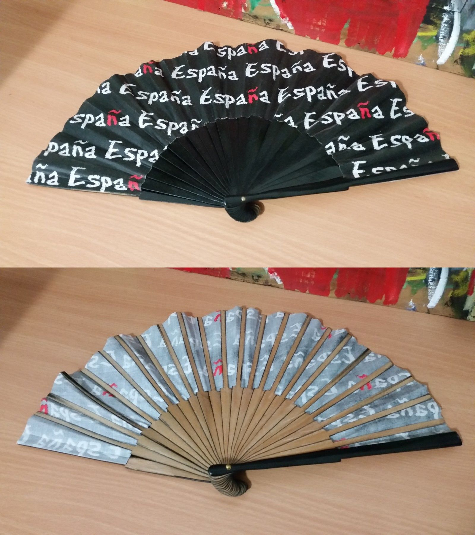 Fans And Parasols 175645 Wooden Handheld Fan Black And White With