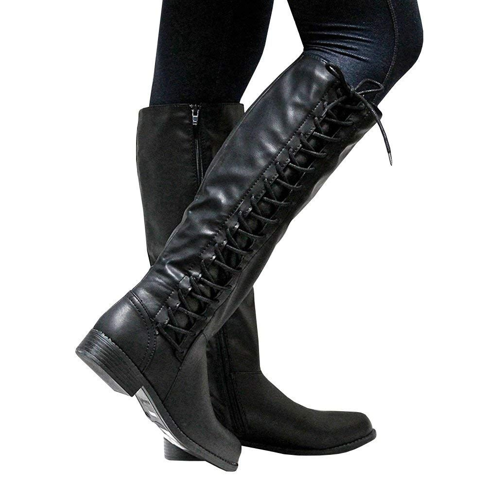 d46d55eca74 Syktkmx Womens Lace Up Knee High Motorcycle Riding Military Combat Low Heel Winter  Boots     Nice of your presence to have dropped by to visit our image.