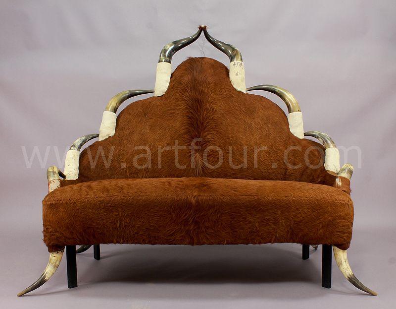 antique horn sofa ca. 1870