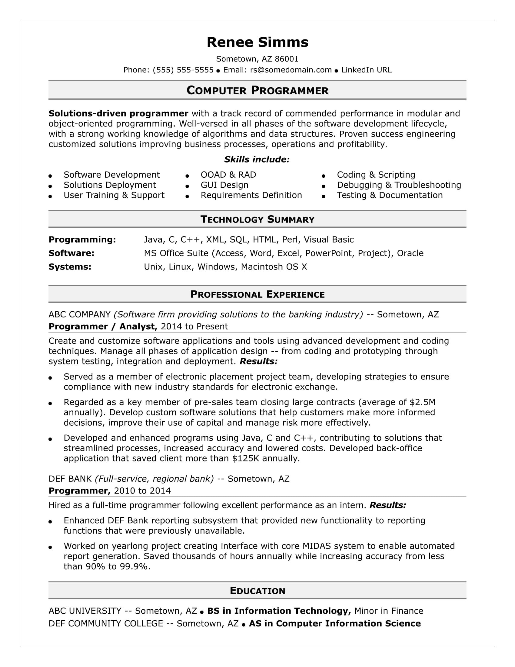Scientific Programmer Sample Resume Does Your It Resume Need A Little Debugging Check Out Our Sample .