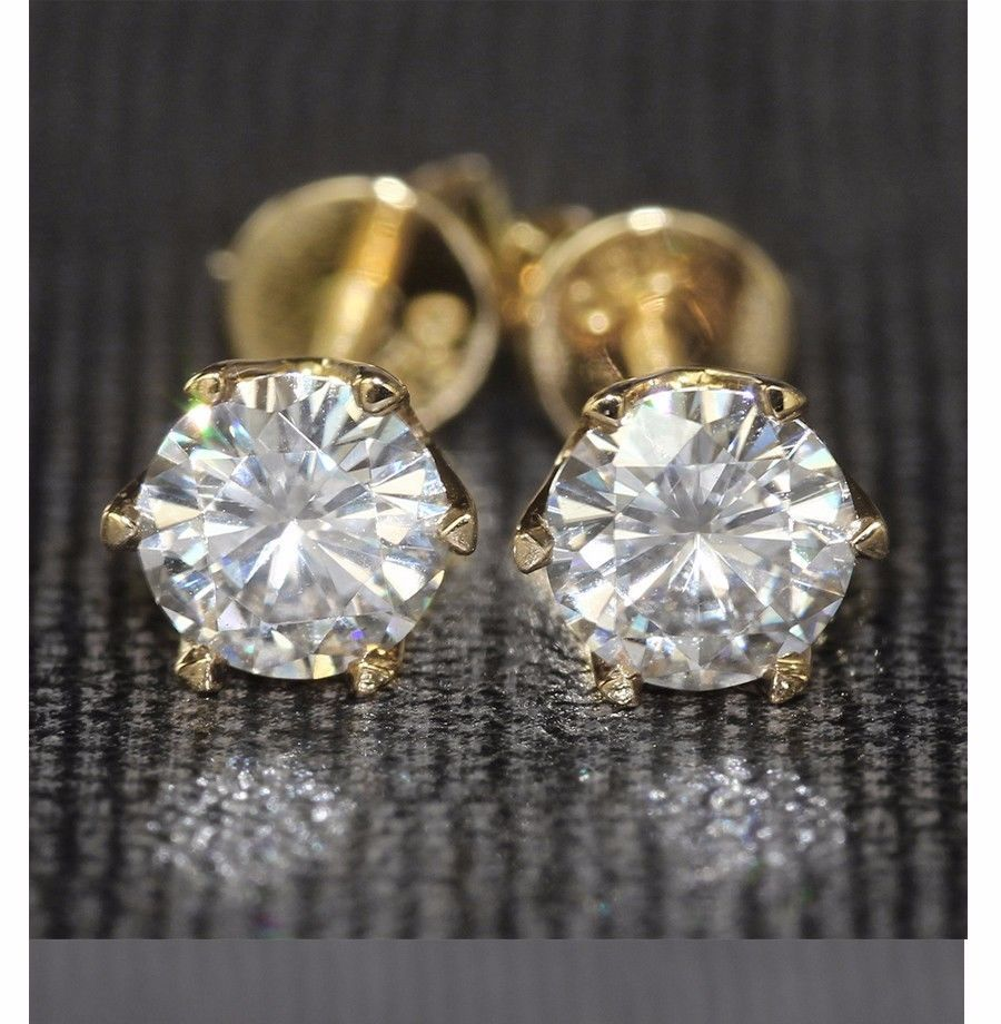 2CT Women/'s 14K Solid Yellow Gold Bezel Round Cut Pink Tourmaline Stud Earrings