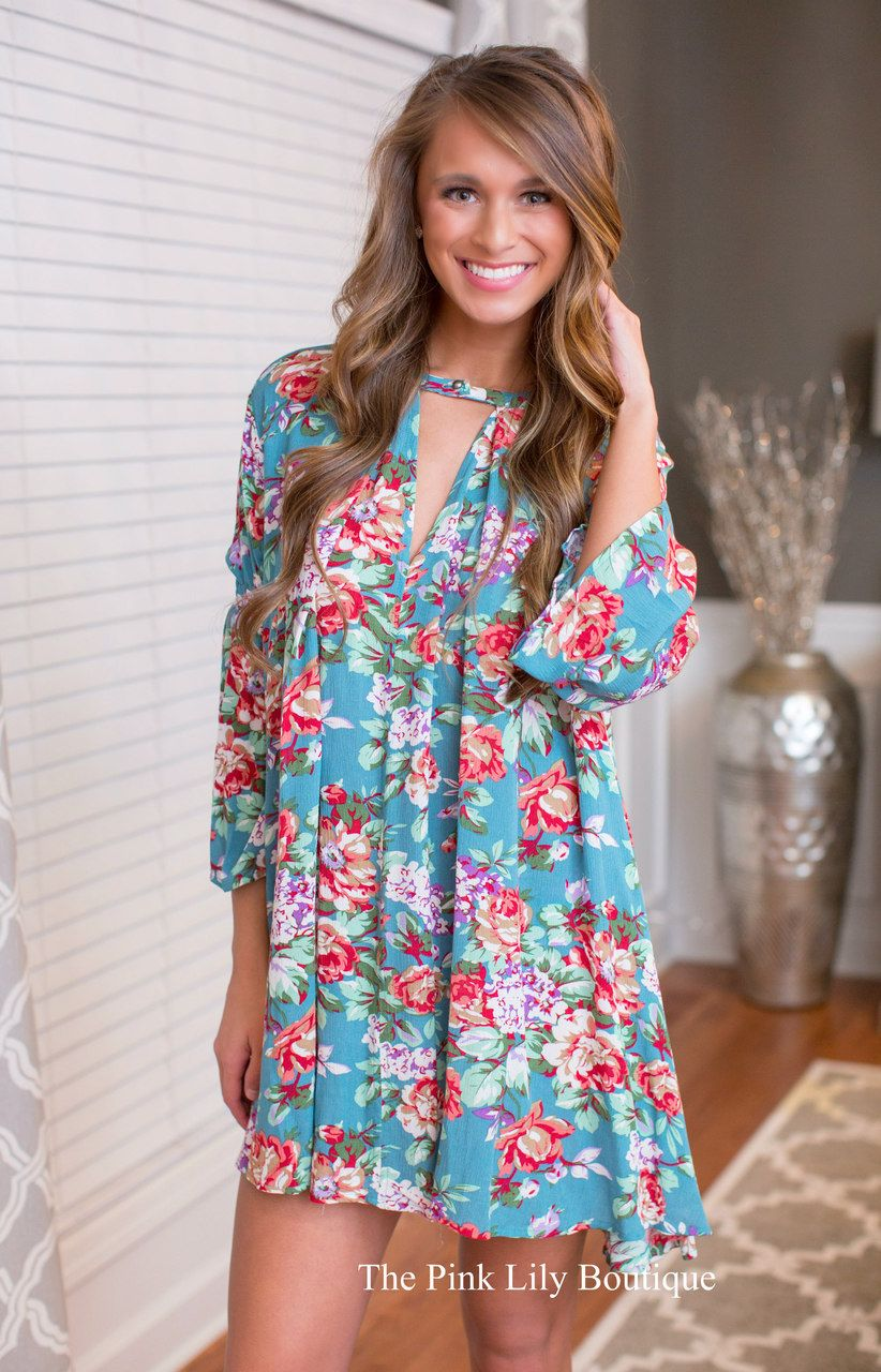USE DISC. CODE:REPAMIE10 TO SAVE! www.pinklilyboutique.com       Floral Of The Story Dress Teal - The Pink Lily Boutique