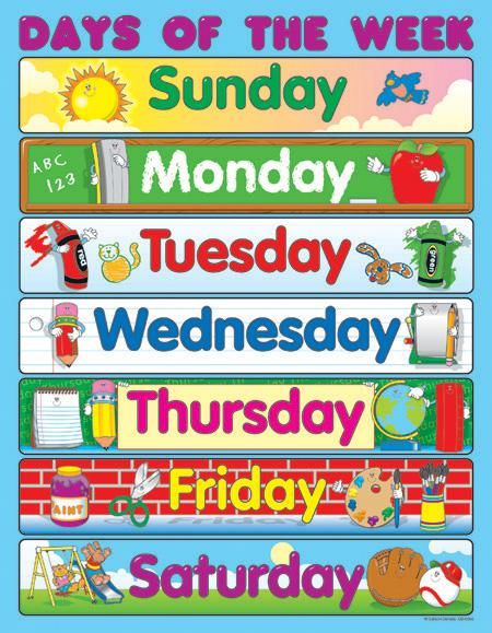 printable days of the week chart