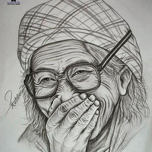 رسم امرأة عجوز الخطوات على قناتي في اليوتيوب مصطفى سعدي Mustafa Saadi Art Artwork Drawings