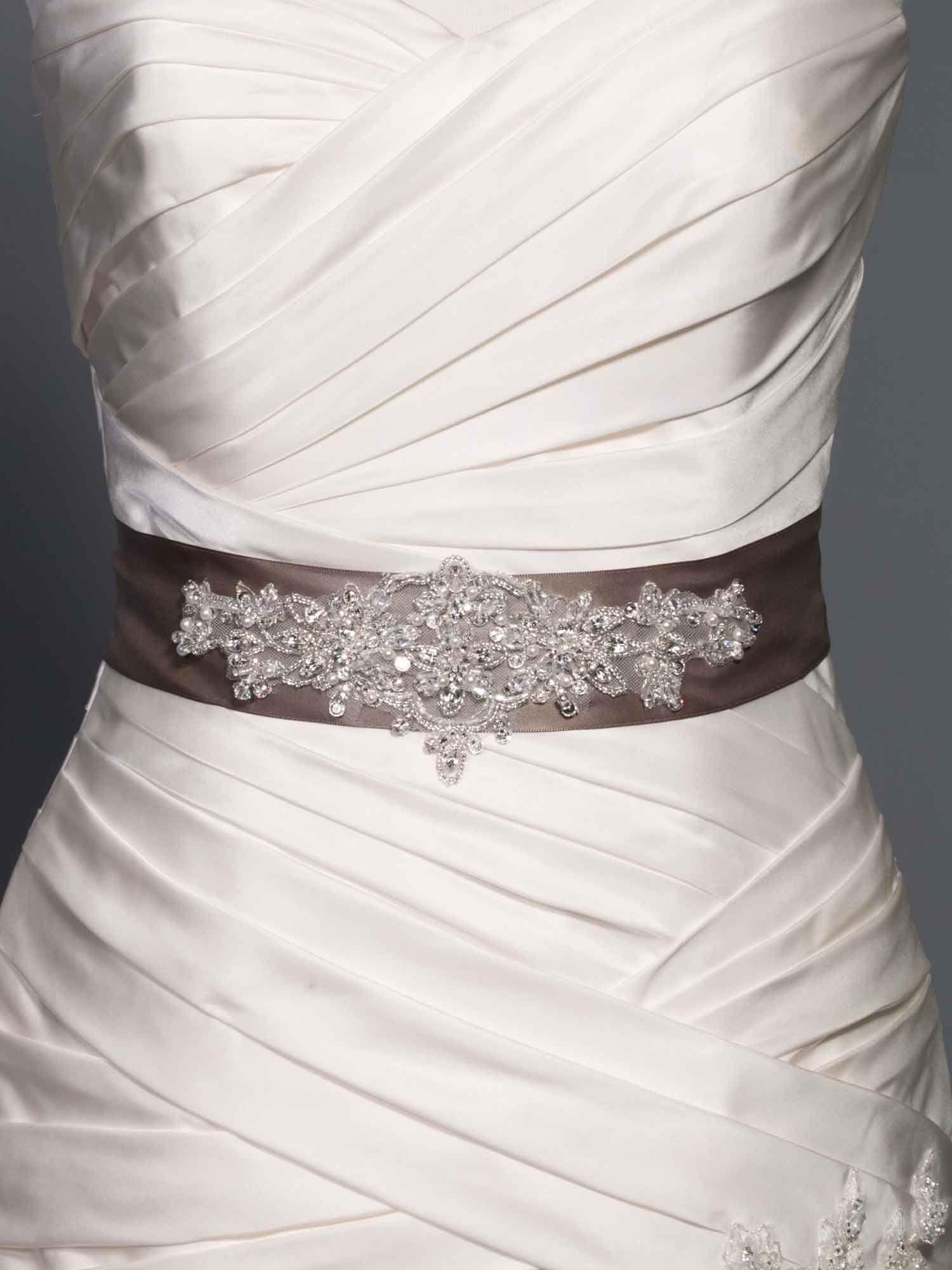 Sparkle rhinestone belt adds to a simple elegant wedding for Sparkly wedding dress belt