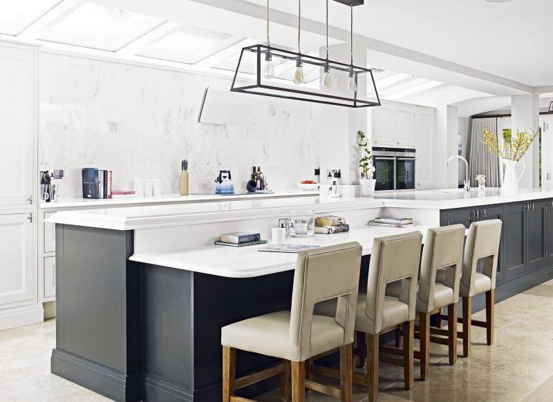 Large White Kitchen With Dark Grey Island