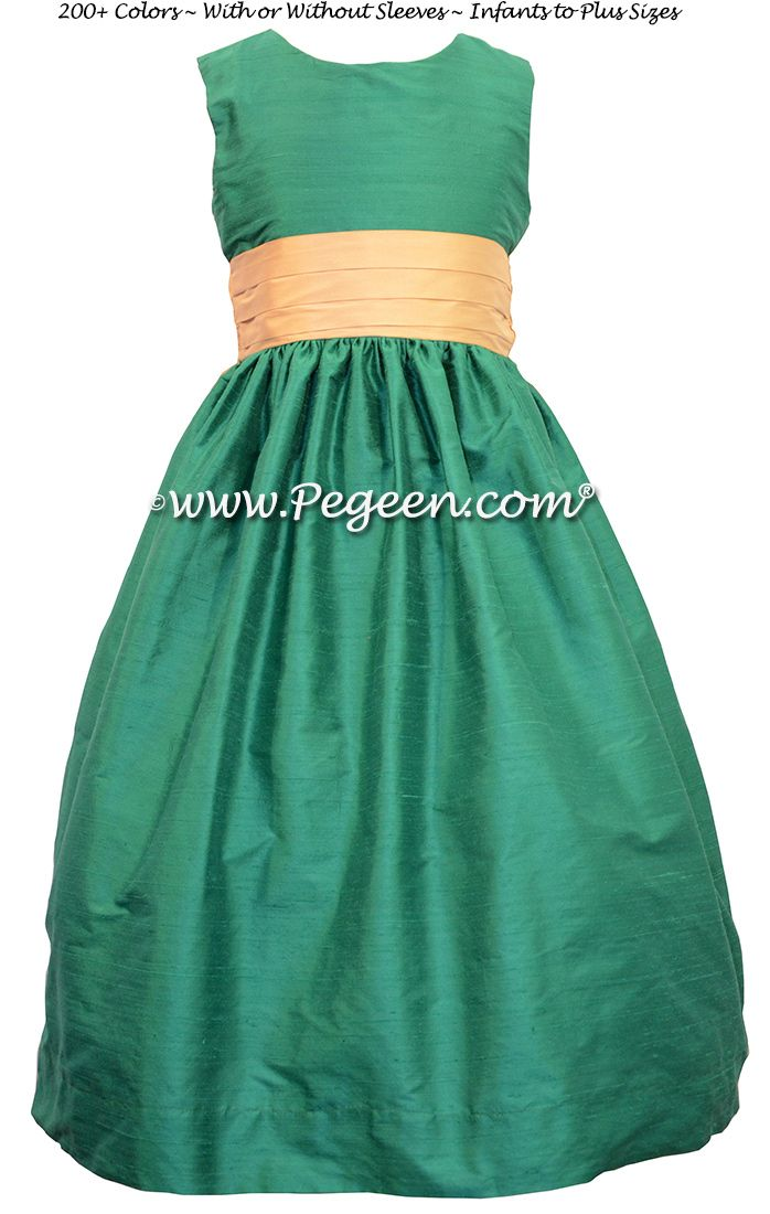 06f9dbde5e2 Emerald Green and Pure Gold Flower Girl Dresses by Pegeen.com Style ...