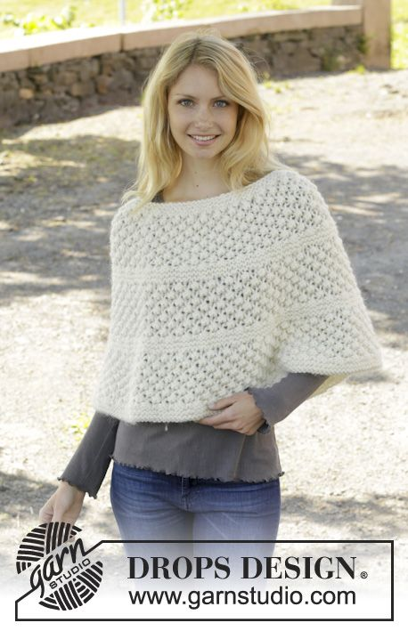 Knitted DROPS poncho in garter st with blackberry pattern, worked ...