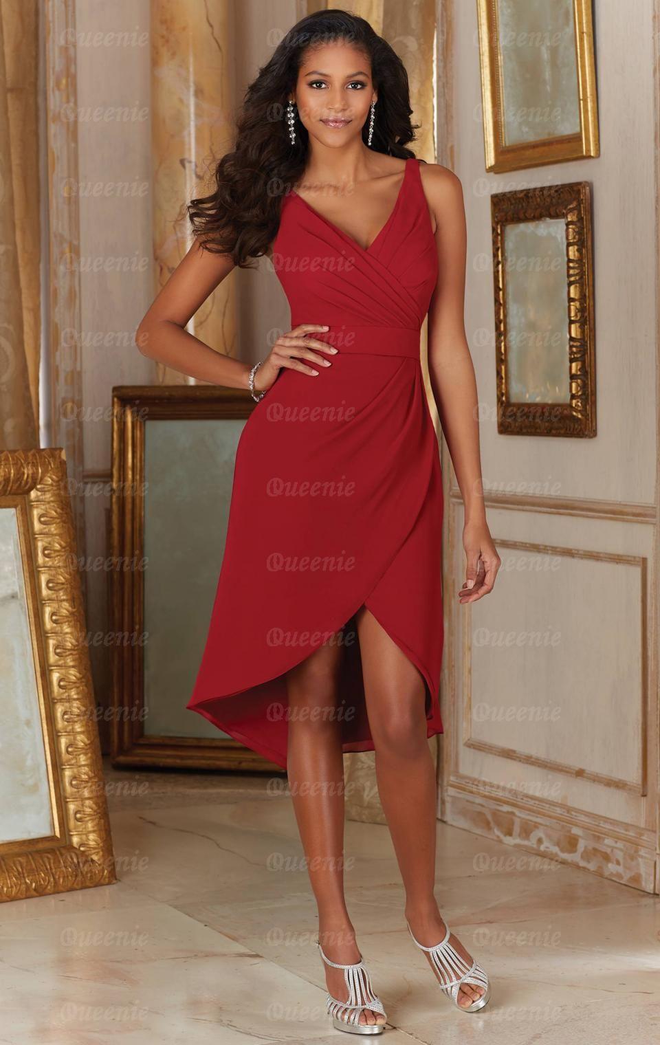 Designer Red Short Bridesmaid Dress BNNDE0011-Bridesmaid UK