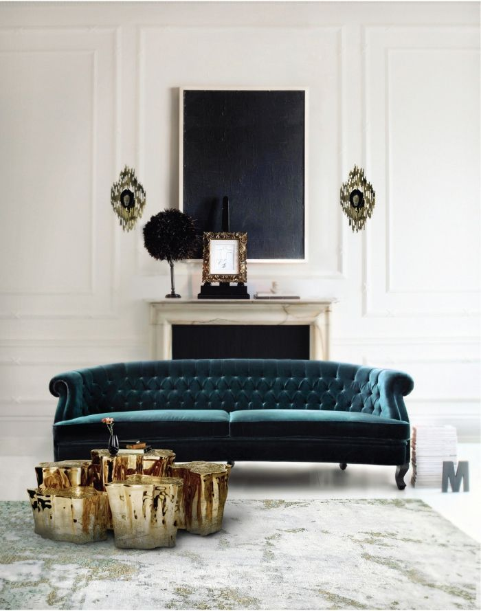 wohnzimmer deko ideen samtsofa in smaragdgrün goldene