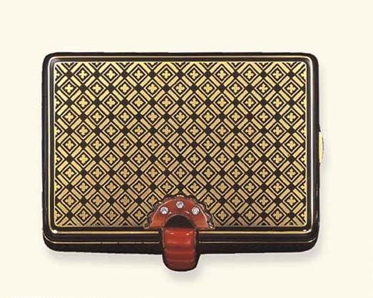 An Art Deco Coral Enamel And Gold Vanity Case By Cartier