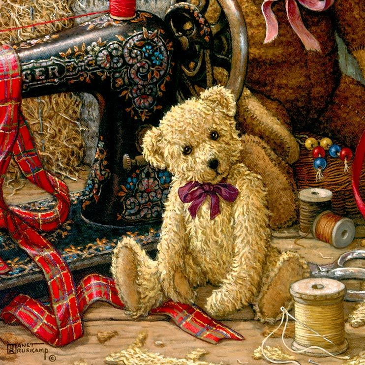 Brand New Bear 1, a painting of a fuzzy brown teddy bear fresh off the sewing machine, one of the Janet Kruskamp Teddy Bear Gallery of original paintings by Janet Kruskamp