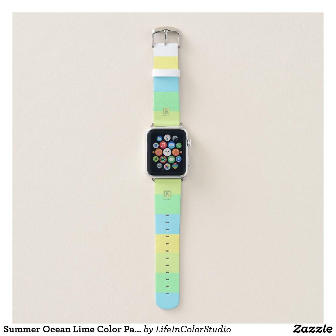 Summer Ocean Lime Color Palette Stripes Monogram Apple Watch Band Zazzle Com Apple Watch Bands Apple Watch Apple Watch Design