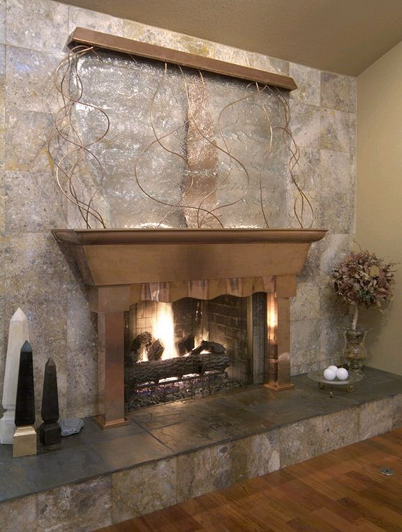 Waterfall With Fireplace Tabletop Fountain Indoor Fireplace