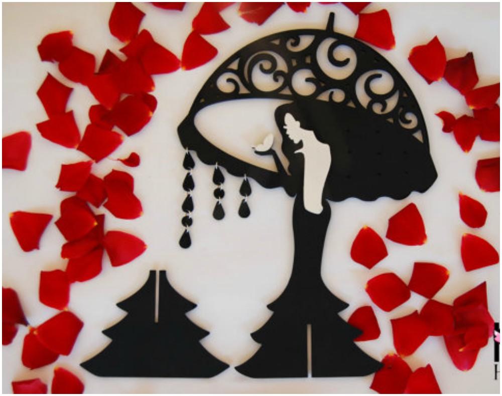 The 20 Best Earring Organizers #cuteumbrellas ZJO-0814 – Cute Umbrella Lady Wall Mounted Earring Organizer #cuteumbrellas