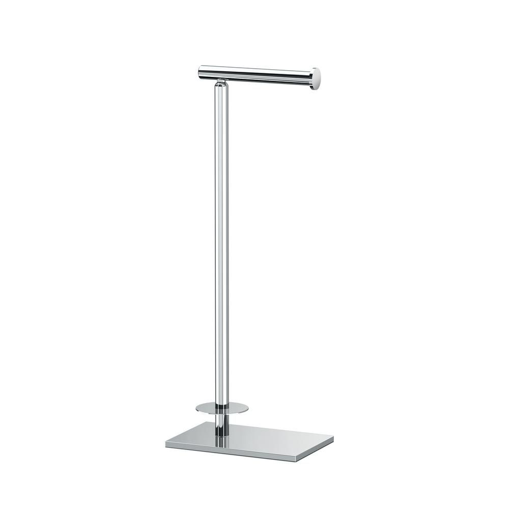 Gatco Latitude Ii Square Free Standing Toilet Paper Holder With Storage In Chrome 1443c The Home Depot In 2020 Free Standing Toilet Paper Holder Gatco Toilet Paper Holder