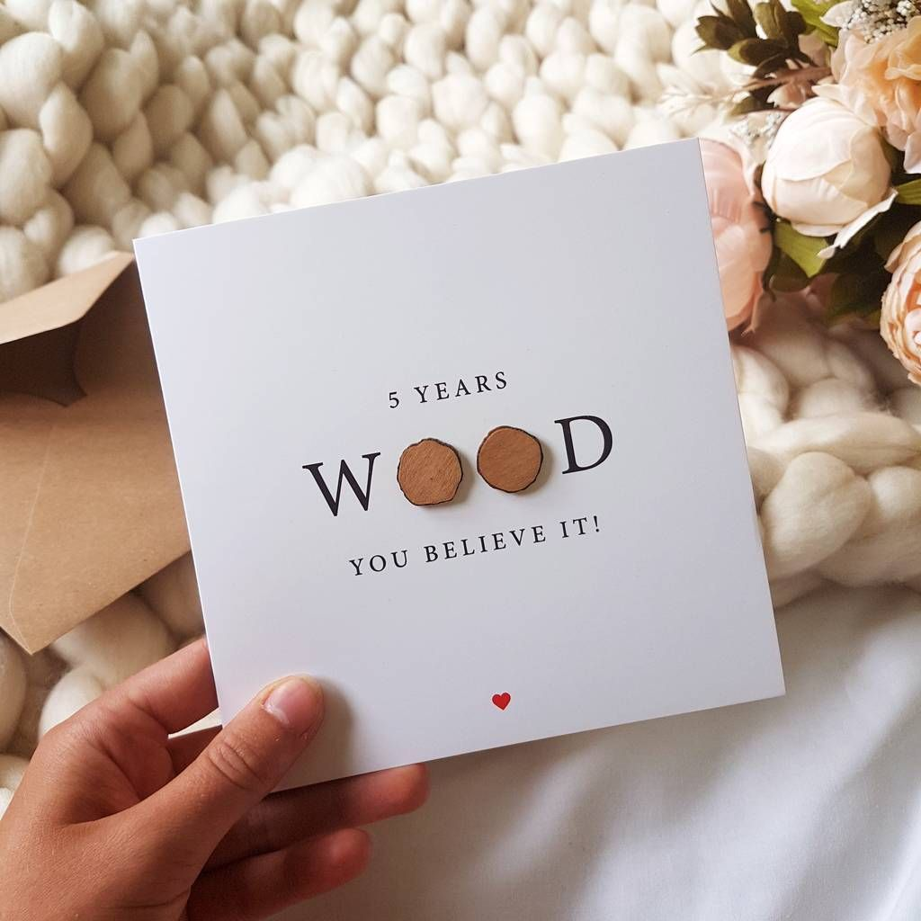 Five Years Wood You Believe It 5th Anniversary Card Wood Anniversary Gift Wooden Anniversary Gift Anniversary Cards