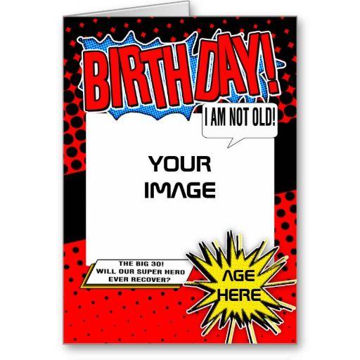 Birthday Card Superhero Comic Spoof Zazzle Com In 2021 30th Birthday Cards Birthday Cards Superhero Comic