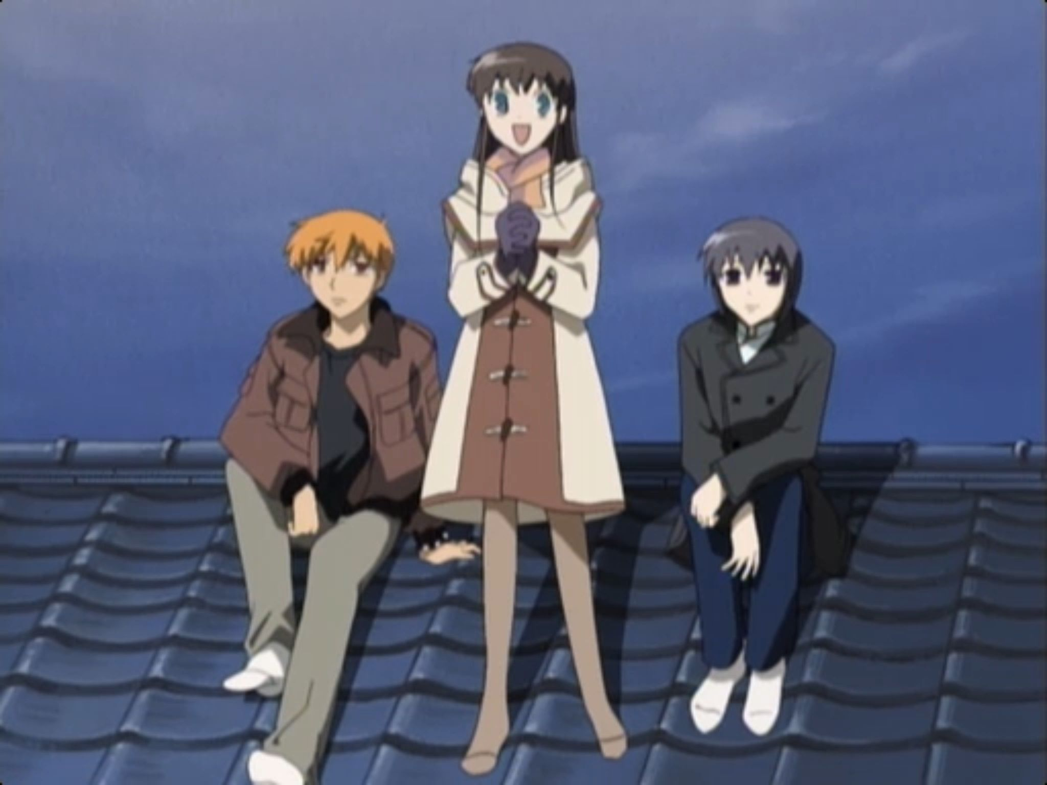 """Fruits Basket"" Kyo, Tohru, and Yuki watching the New"