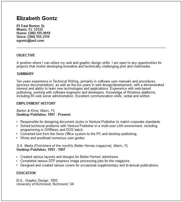 Self Employed Resume Template - http\/\/wwwresumecareerinfo\/self - sample one page resume format