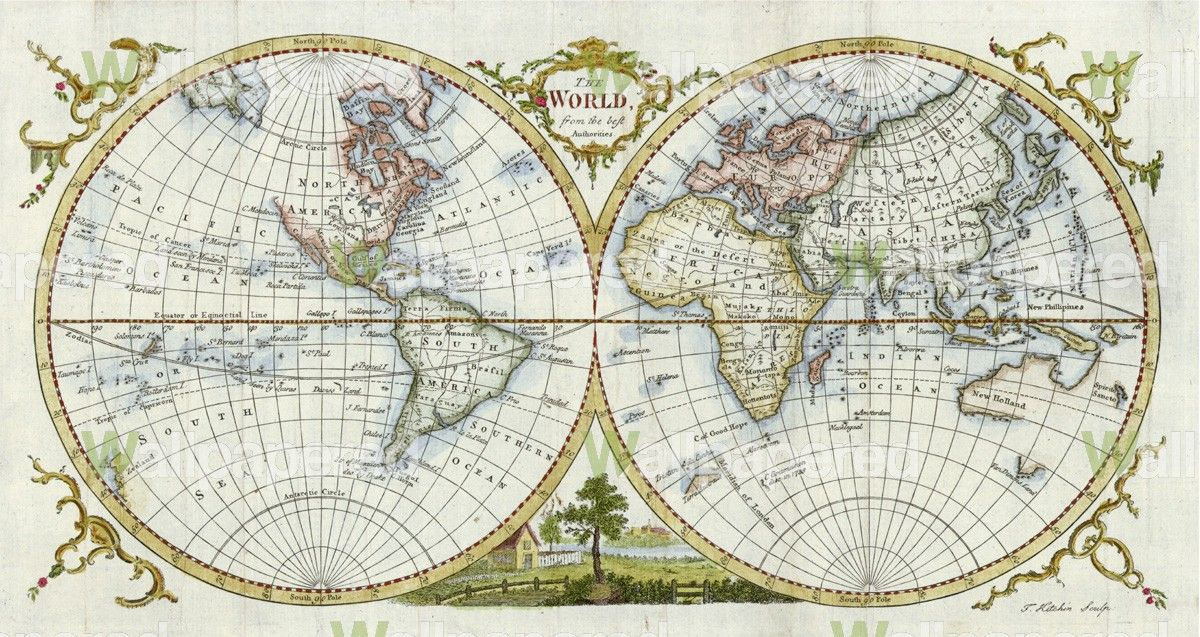 Antique World Map 1777 Wall Mural Map Wallpaper old world map - best of world map for wall mural