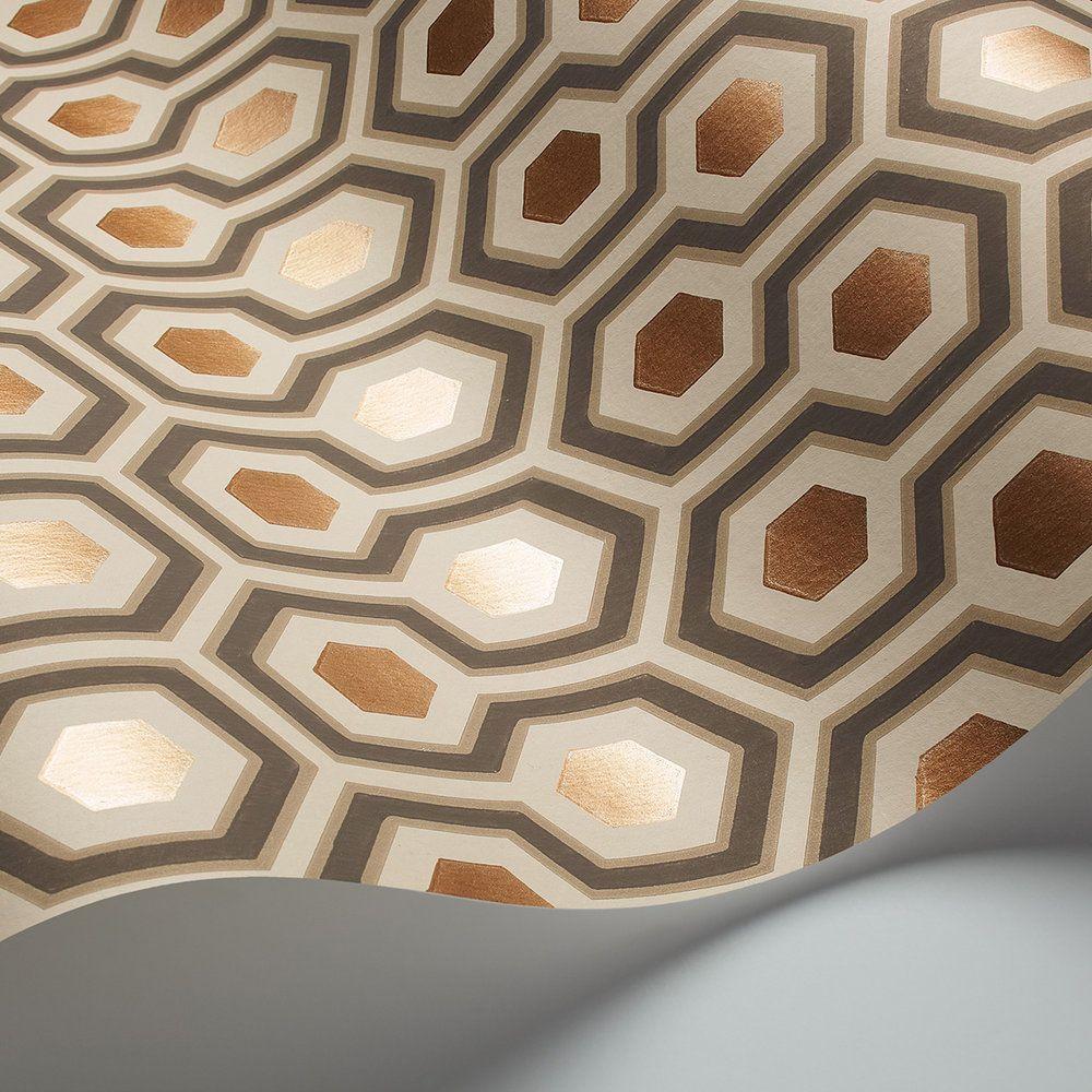 Papier Peint David Hicks hicks' hexagoncole & son - taupe & bronze - wallpaper