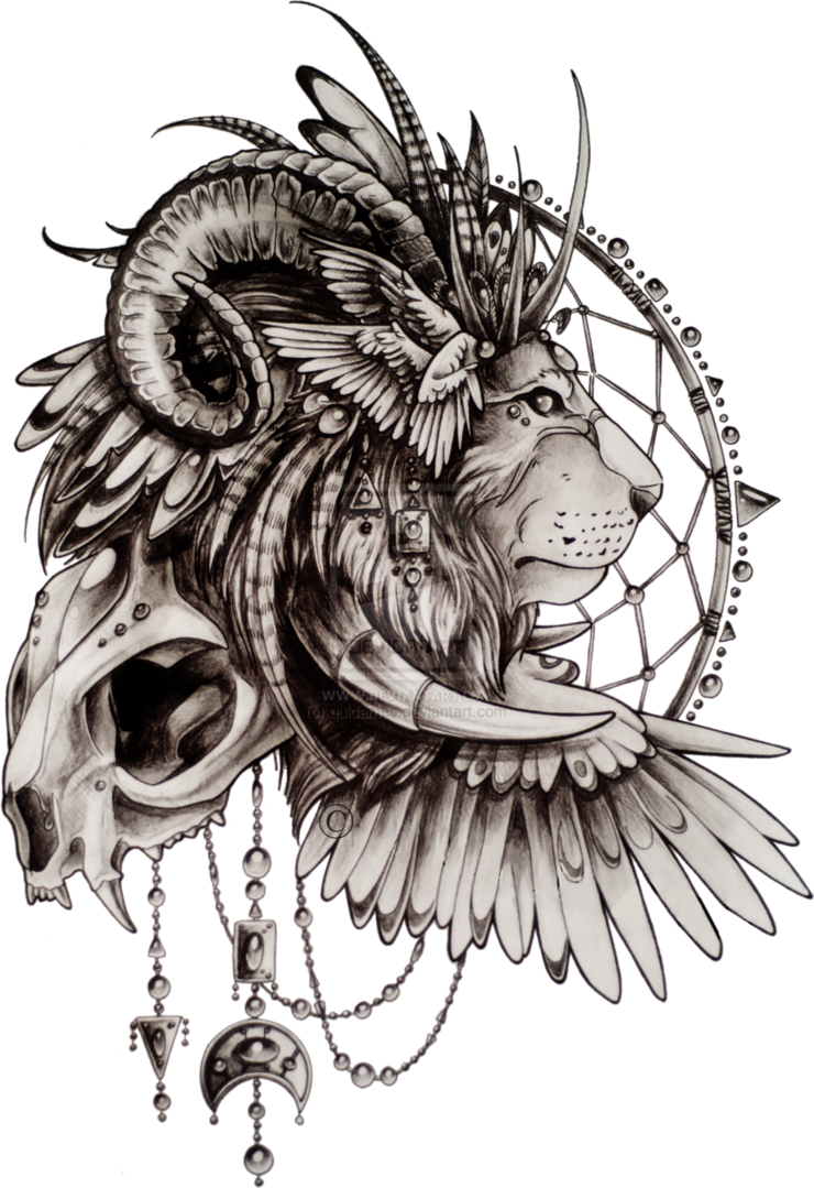 20469606589c1 Lion sketch tattoo by ~quidames on deviantART. I don't know why, but I  actually really like this... Change the lion to leopard, ram horns to bull  horns, ...