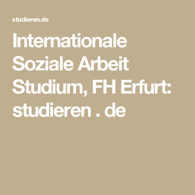 Internationale Soziale Arbeit Studium, FH Erfurt
