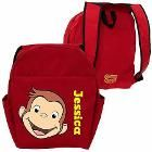 Personalized Curious George Funny Face Red Toddler Backpack