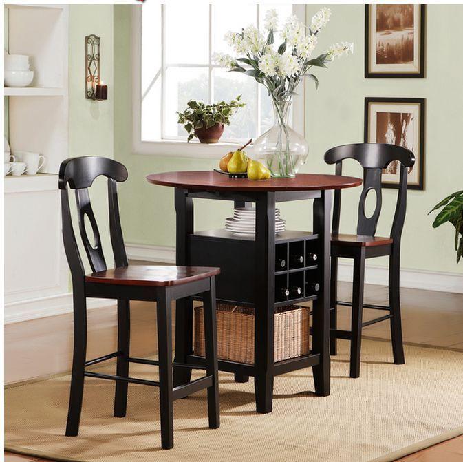 Modern Dining Set 3 Piece Dinette Bistro Kitchen Chairs Table Patio Wooden Room Top Kitchen Table Tall Kitchen Table Round Kitchen Table
