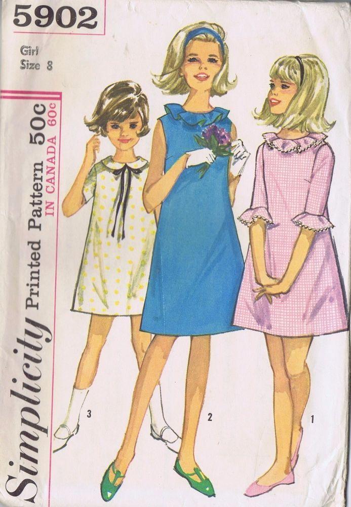 5902 Simplicity Sewing Pattern Vintage Girls Dress Skirt Size 8 B 26 ...