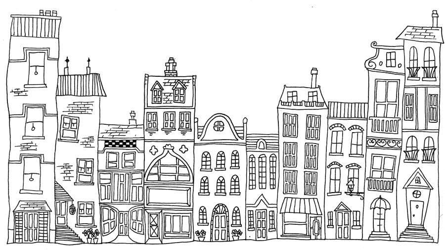 Hand Drawn Line Drawings Of Various Whimsical Houses Shops
