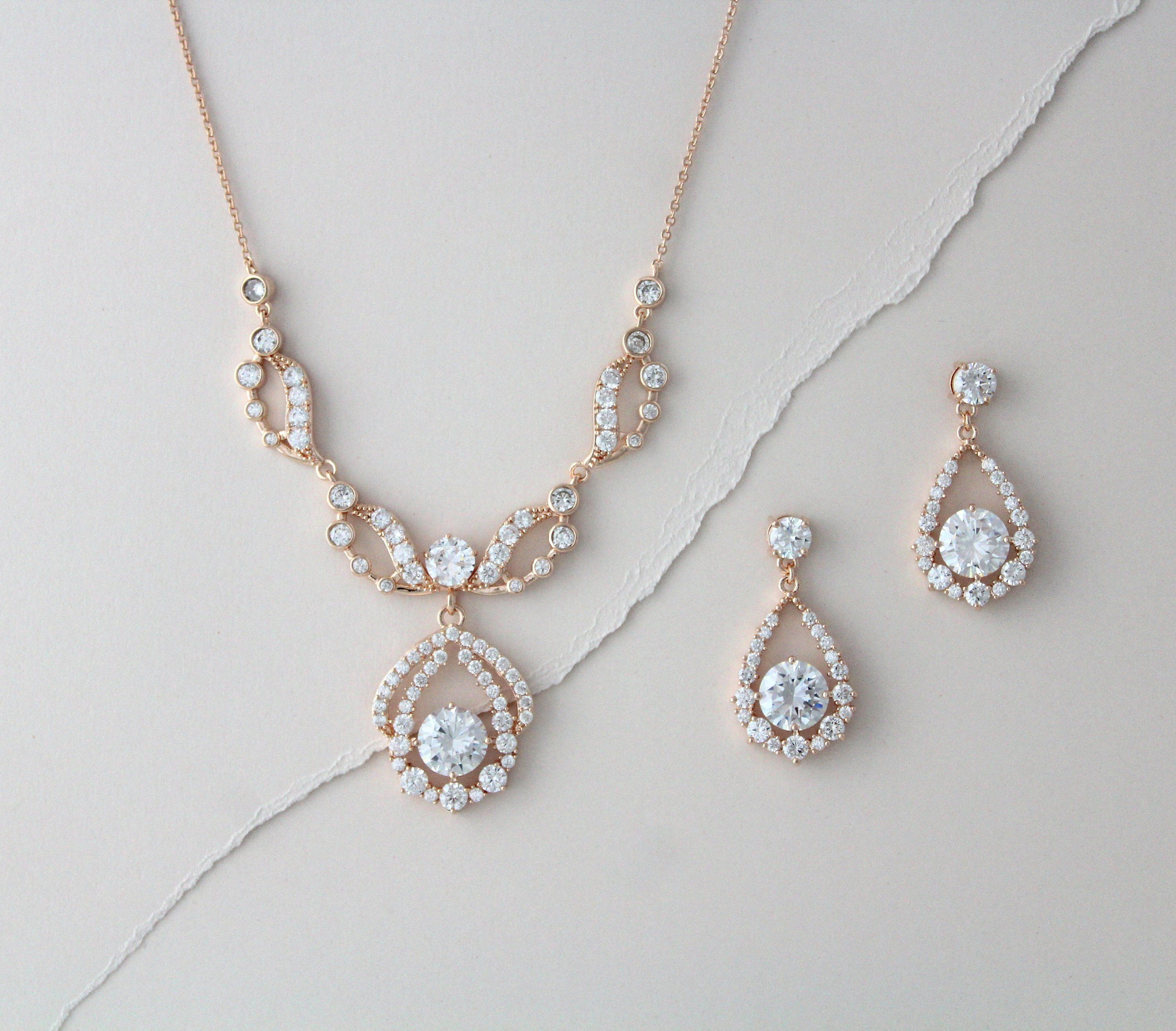 Rose Gold Necklace And Earring Set Bridal Jewelry Set Vintage Etsy Wedding Earrings Drop Crystal Drop Earrings Wedding Gold Bridal Necklace