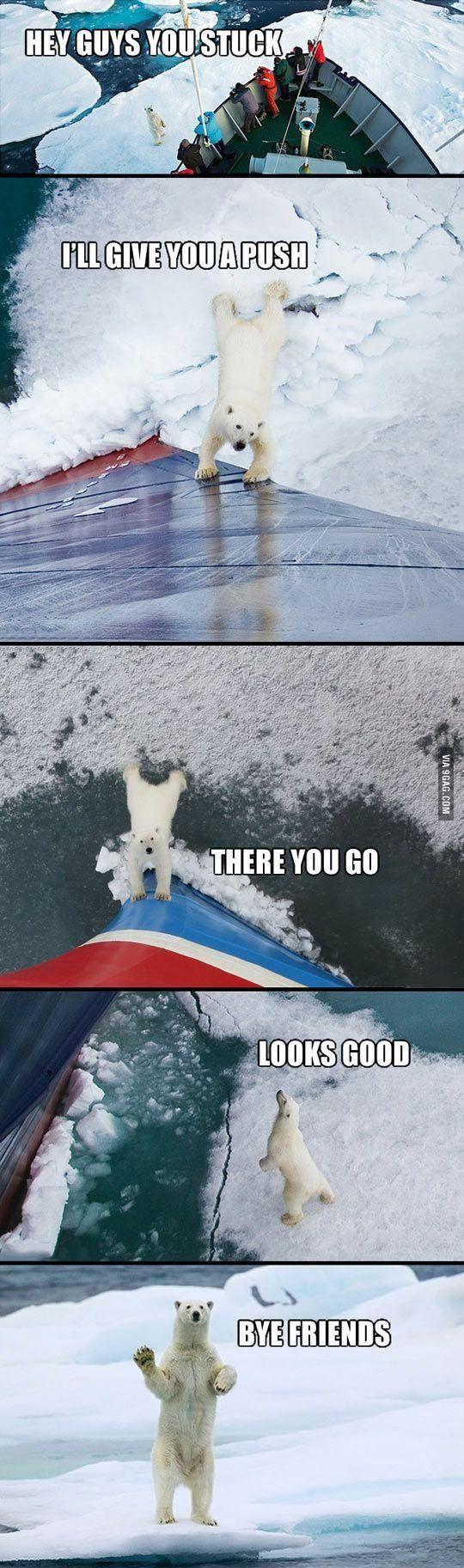 Bear pushing a ship