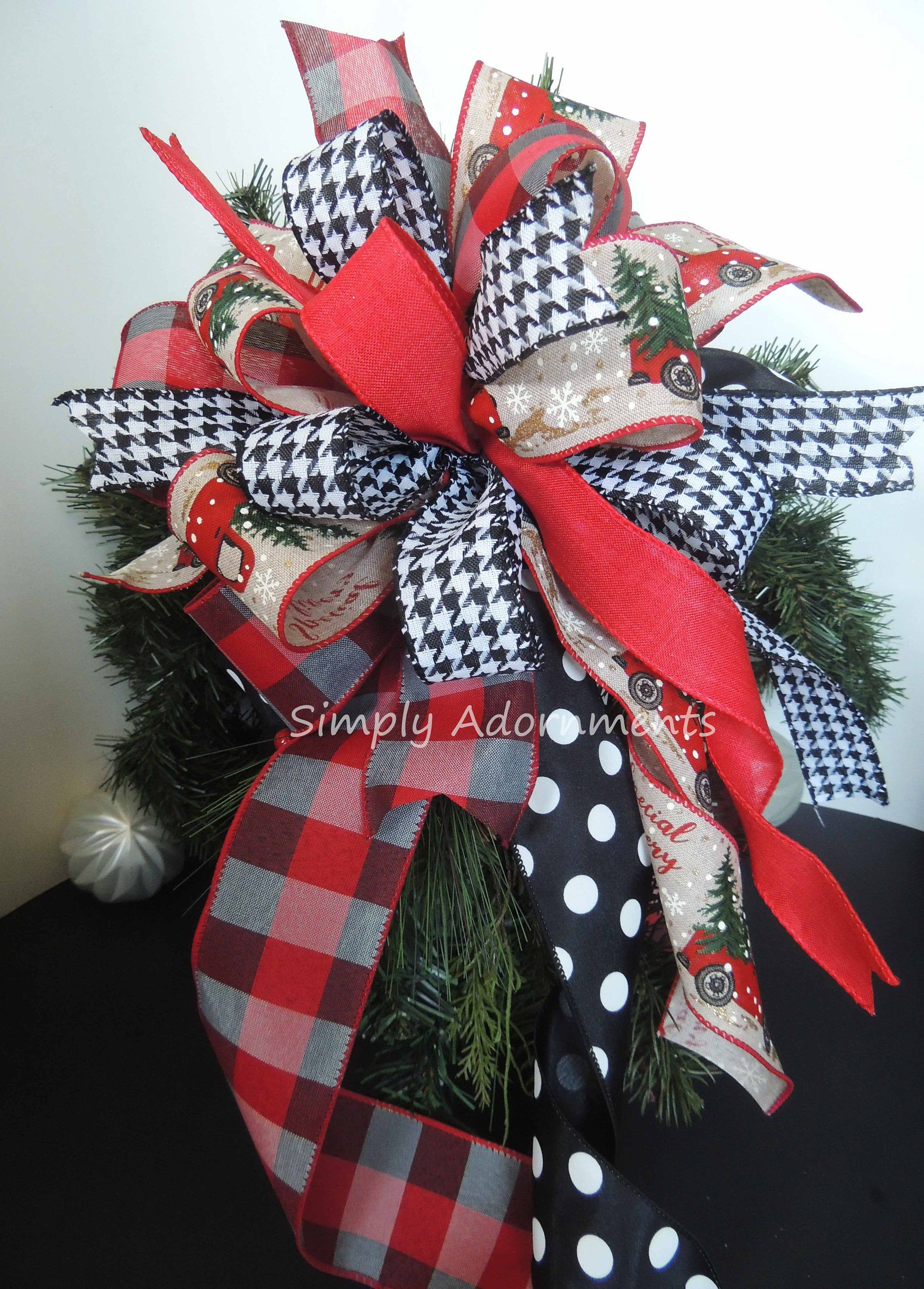 Red Truck Farmhouse Tree Topper Bow Buffalo Check Red Black Christmas Tree Bow Cream Red Black Holiday Decor Rustic Xmas Decorations