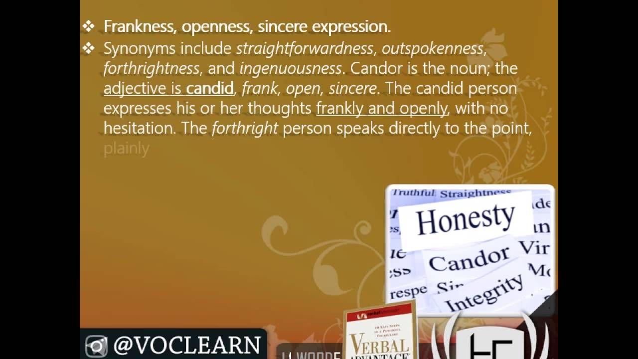 کلمه candor از کتاب Verbal Advantage – درس ۱