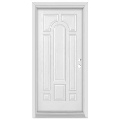 Stanley Doors 36 In X 80 In Infinity Left Hand Inswing 8 Panel Finished Fiberglass Mahogany Woodgrain Prehung Front Door White Exterior Doors Doors Single Doors