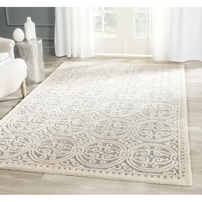 Arana Hand Tufted Wool Silver Ivory Area Rug In 2020 Hand Tufted