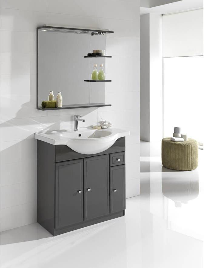 Meuble simple vasque l.80 x H.80 x P.33.4 cm, gris, Galice ...