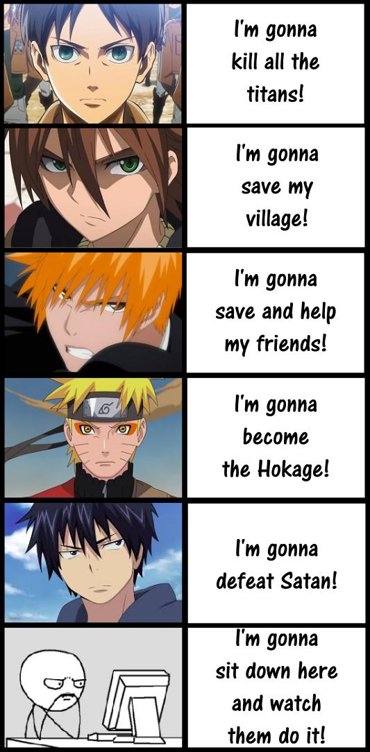 L'objectif de divers personnages et l'objectif des otakus: voir tous les animes - Otaku