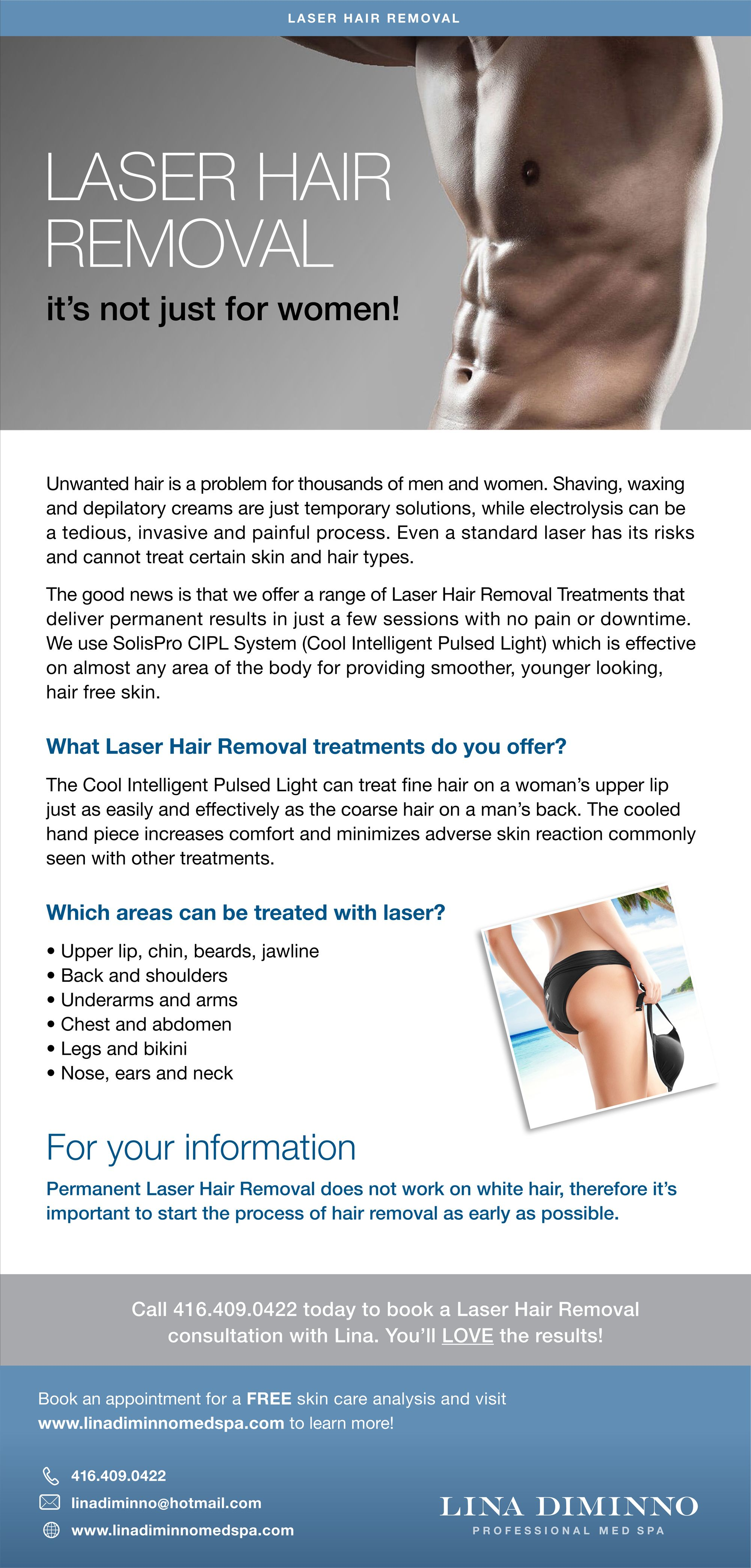 Lina Diminno Med Spa Offers A Range Of Ipl Laser Hair Removal And
