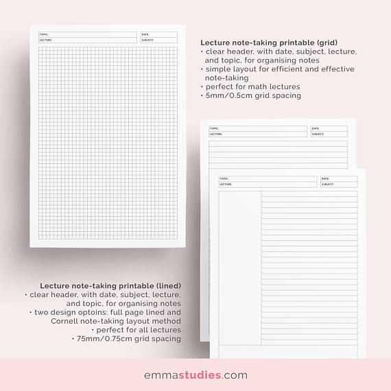 Student Note Taking Template Printable Pack A4 A5 And Letter Cornell Lecture Dot Grid Lined College Paper Instant Download Student Planner Printable Daily Planner Pages Note Taking
