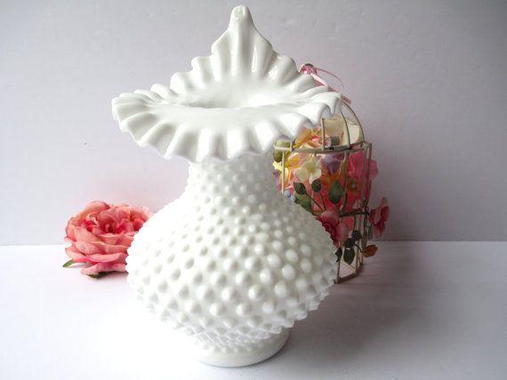 Vintage Fenton Milk Glass Hobnail Tulip Vase by mymilkglassshop