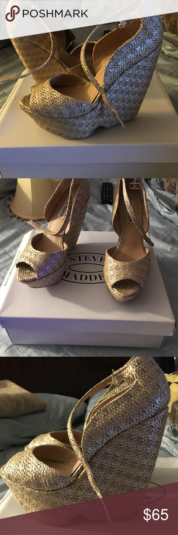 Pickee raffia Steve Madden wedges Very great shoes, and comfortable. Is a 6.5 but fit a size 7 Steve Madden Shoes Wedges
