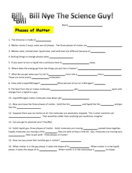 Bill Nye Phases Of Matter Video Worksheet By Science With Mingels In 2020 Bill Nye Matter Videos Persuasive Writing Prompts