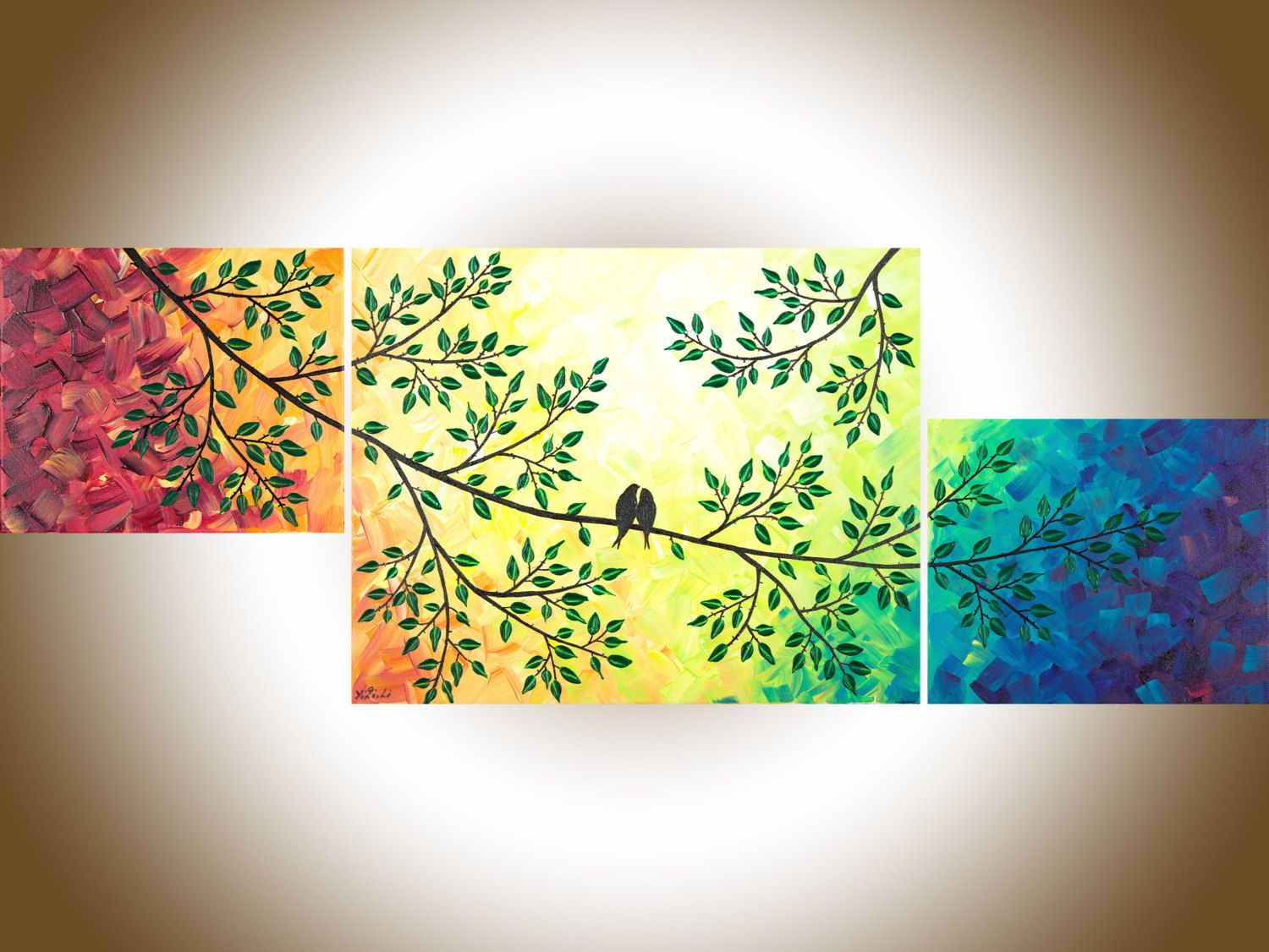 Contemporary wall art rainbow color art set of 3 Painting acrylic ...