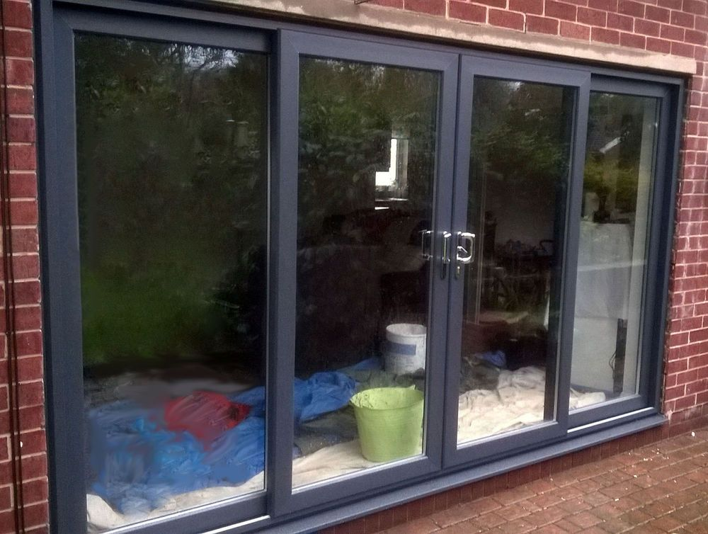 Anthracite Grey 4 Pane UPVC Sliding Patio Doors / Super Slider In RAL7016  Grey. 4