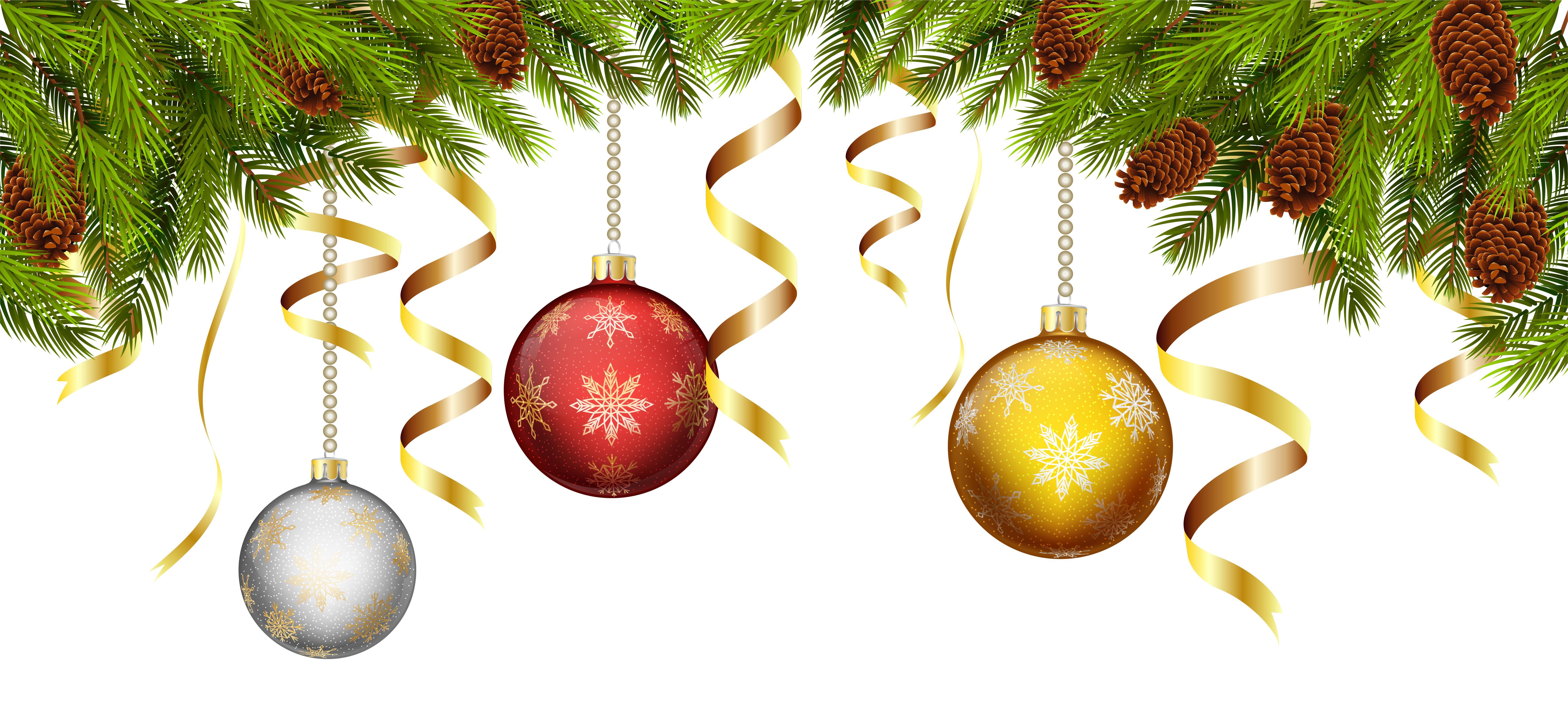 Christmas Balls With Pine Branch Decoration PNG Clip Art Image