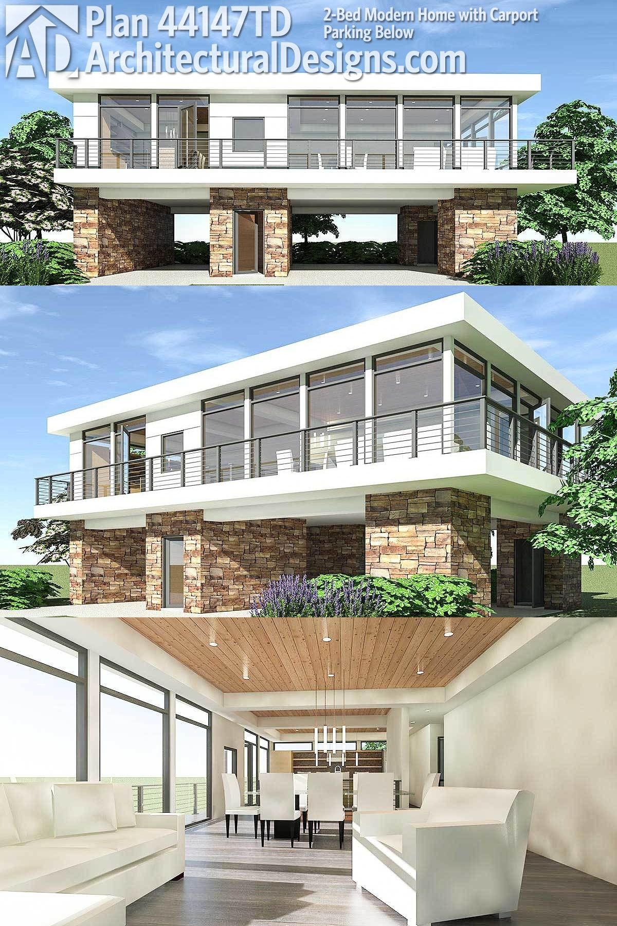 Plan 44147td 2 bed modern home with carport parking below